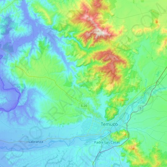 Temuco topographic map, relief map, elevations map