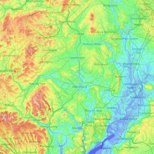 Herefordshire topographic map, relief map, elevations map