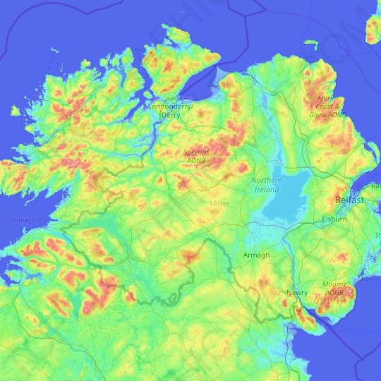 County Tyrone Topographic Map Elevation Relief