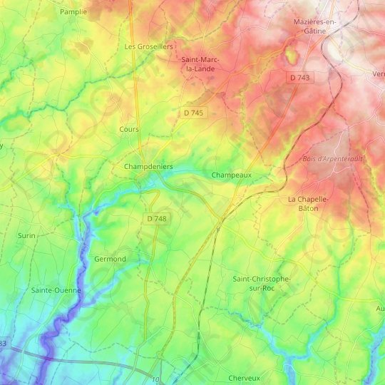 Champdeniers topographic map, relief map, elevations map