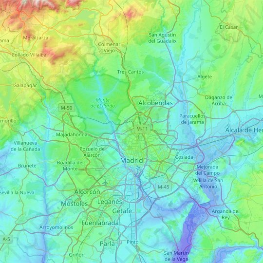 Madrid topographic map, relief map, elevations map
