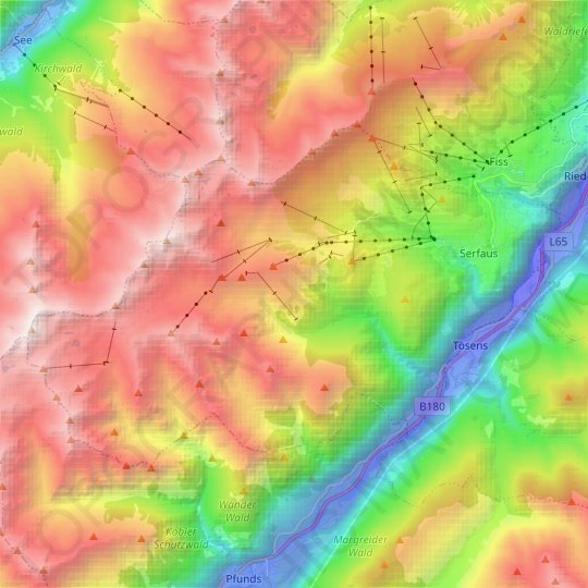 Serfaus topographic map, relief map, elevations map