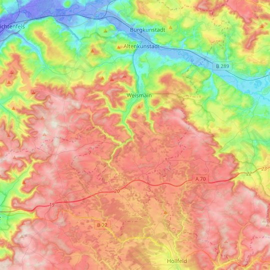 Weismain topographic map, elevation, relief
