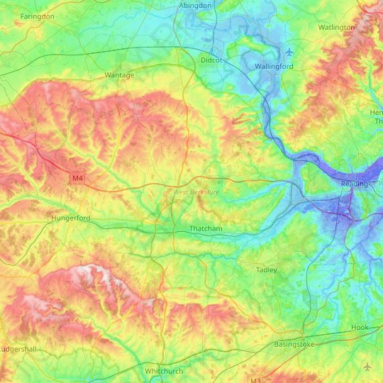 West Berkshire topographic map, relief map, elevations map
