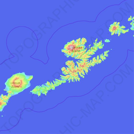 Unalaska Island topographic map, elevation, relief