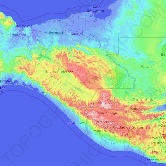 Chiapas topographic map, relief map, elevations map