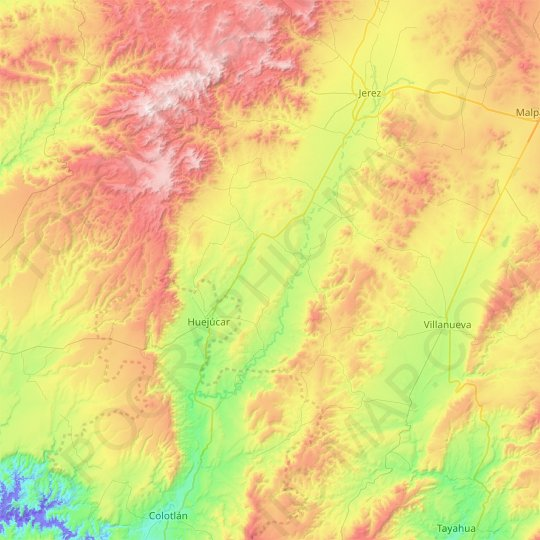 Tepetongo topographic map, relief map, elevations map