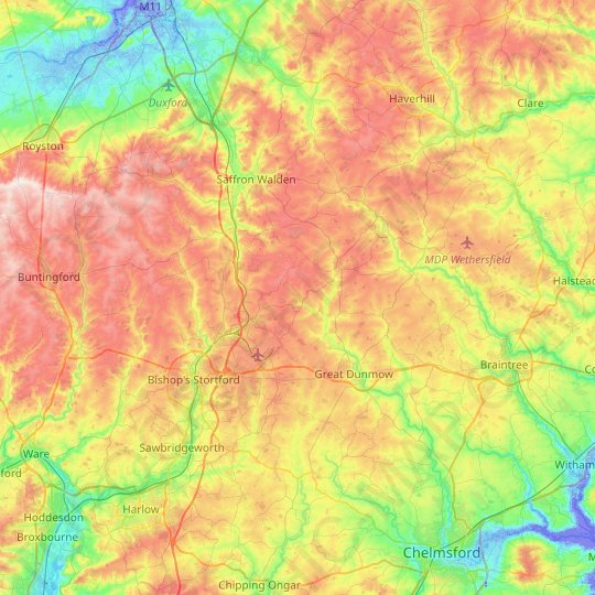 Uttlesford topographic map, relief map, elevations map