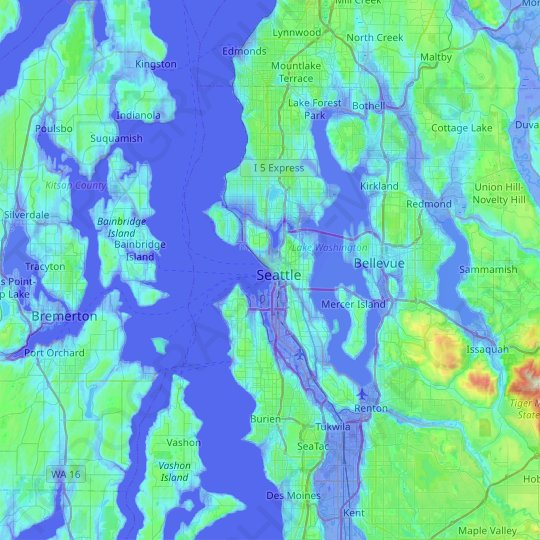 Seattle topographic map, elevation, relief