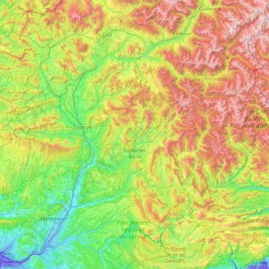 Alpes-de-Haute-Provence topographic map, relief map, elevations map