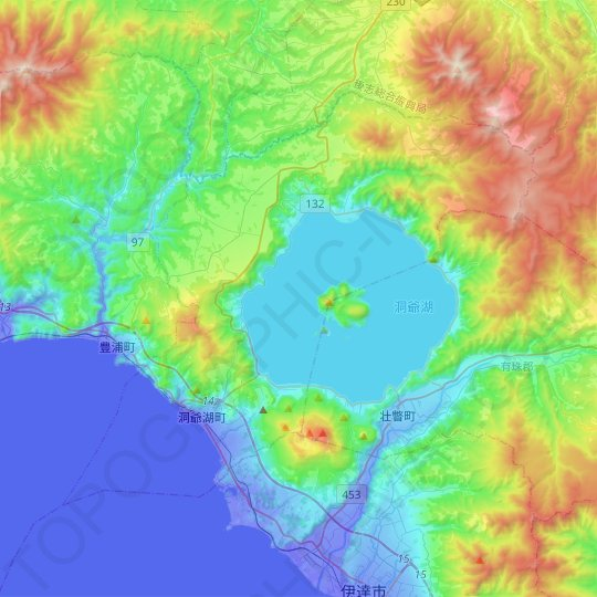 Abuta topographic map, elevation, relief
