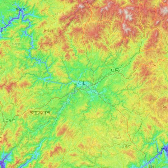 Miyoshi topographic map, elevation, relief