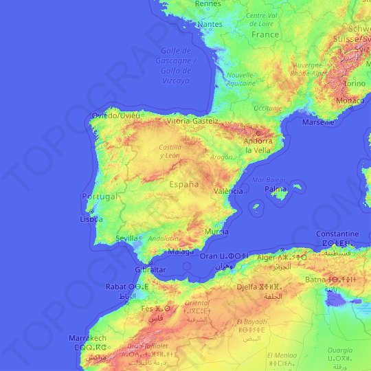 Iberian Peninsula topographic map, relief map, elevations map