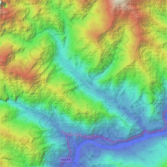 L4 topographic map, elevation, relief
