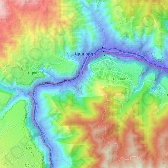 Alaverdi topographic map, elevation, relief