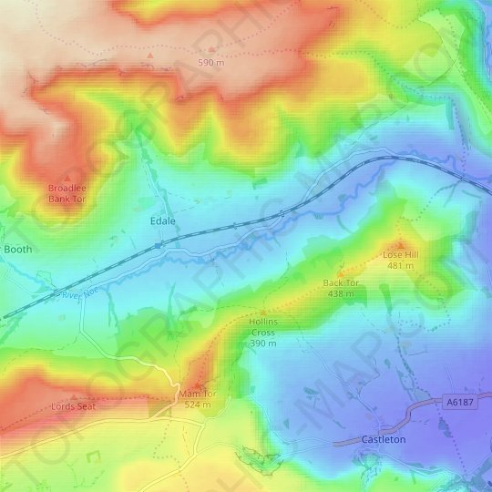 River Noe topographic map, elevation, relief