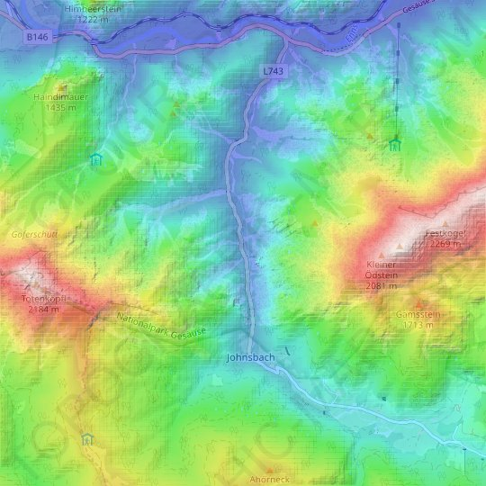 Johnsbach topographic map, relief map, elevations map