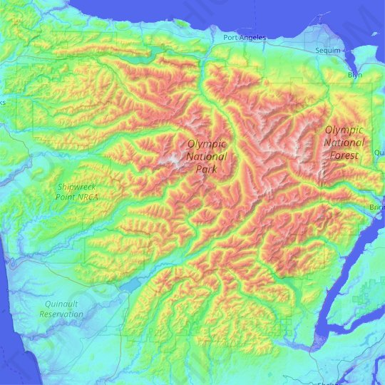 Olympic Mountains topographic map, relief map, elevations map