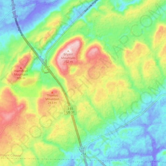 Smoke Rise topographic map, elevation, relief