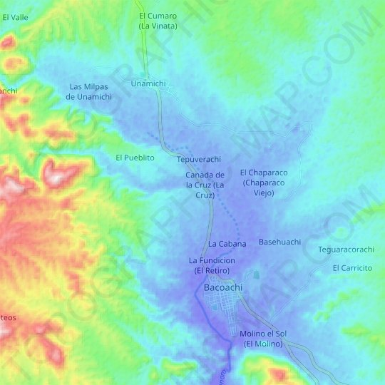Río Sonora topographic map, relief map, elevations map