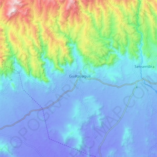 Guatajiagua topographic map, relief map, elevations map