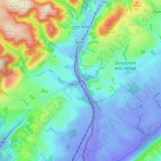 Marsh Brook topographic map, relief map, elevations map