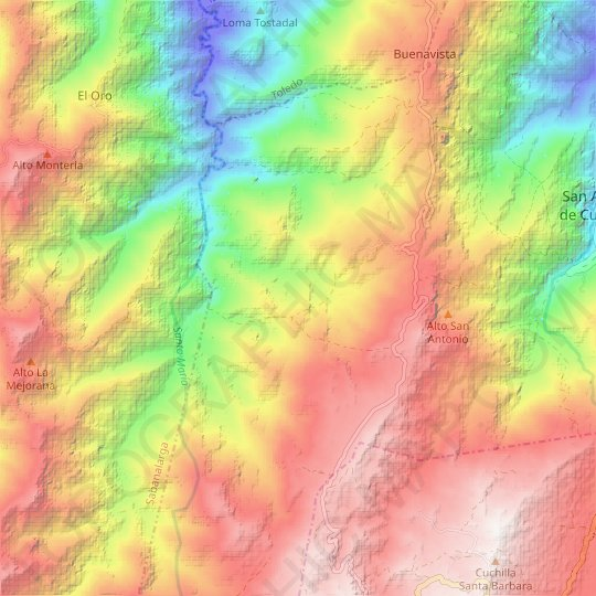 Aguas Blancas. topographic map, relief map, elevations map