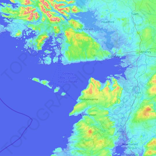 Galway Bay topographic map, elevation, relief