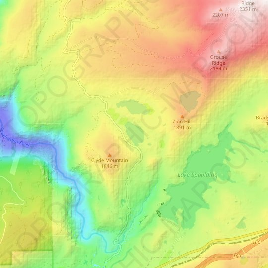 Fuller Lake topographic map, relief map, elevations map